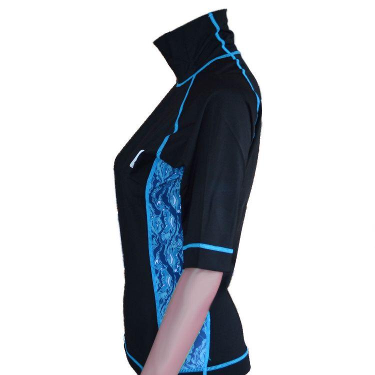 Circle One Lycra Short Sleeve Women's Rash Vest - Black / Blue