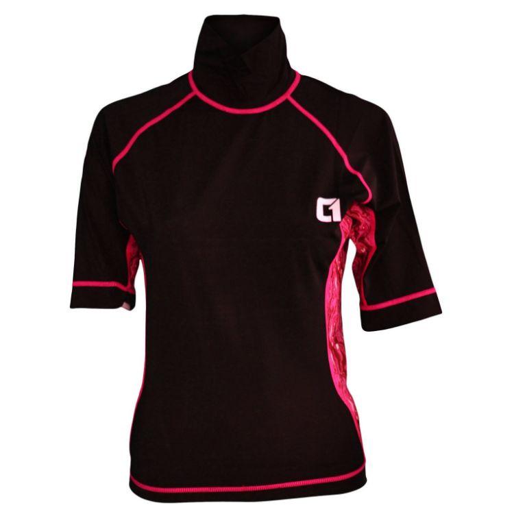 Circle One Lycra Short Sleeve Women's Rash Vest - Black / Pink